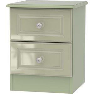 Welcome Furniture Balmoral High Gloss Mushroom 2 Drawer Bedside Cabinet, High Gloss Mushroom Front and Matt Mushroom Carcase