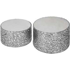 Luxe Interiors Barnet Antique Pewter Side Tables (set Of 2), Pewter and White