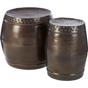 Luxe Interiors Barnet Rustic Brown Drum Style Side Tables (set Of 2), Rustic Brown