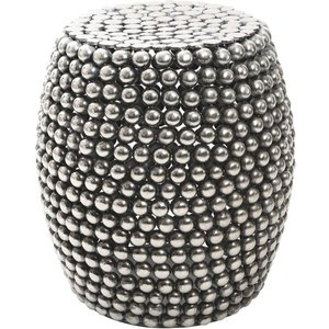 Luxe Interiors Barnet Silver Beaded Stool, Silver