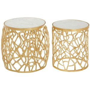 Luxe Interiors Barnet White Marble And Gold Side Tables (set Of 2), Gold and White