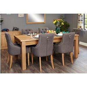 Baumhaus Furniture Baumhaus Mobel Oak Extending Dining Table And 6 Stone Fabric Knockerback Chairs, Satin Lacquer
