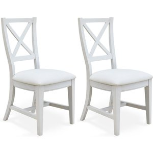 Baumhaus Furniture Baumhaus Signature Grey Painted Fabric Dining Chair (pair), Grey Painted