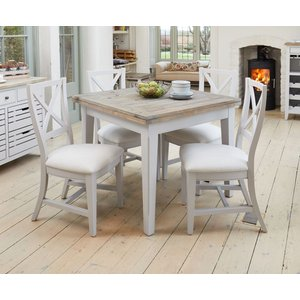 Baumhaus Furniture Baumhaus Signature Grey Painted Square Extending Dining Table And 4 Chairs, Grey Painted