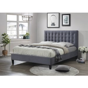 Furniture Now Becky Grey Fabric Bed, Grey