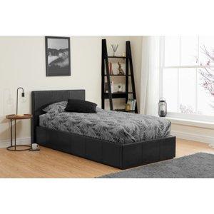 Birlea Furniture Birlea Berlin Black Faux Leather Ottoman Bed, Black