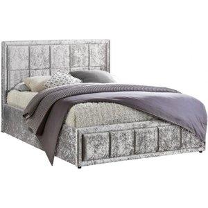 Birlea Furniture Birlea Hannover Steel Crushed Velvet Ottoman Bed, Steel
