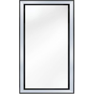 Deco Home Black Montague Rectangular Wall Mirror - 80cm X 180cm, Black and Mirrored