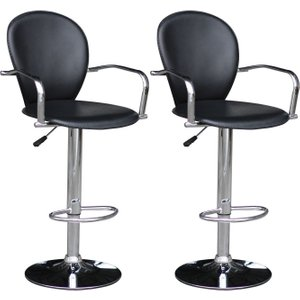 Premier Housewares Black Pvc Swivel Bar Chair (pair), Black and Chrome