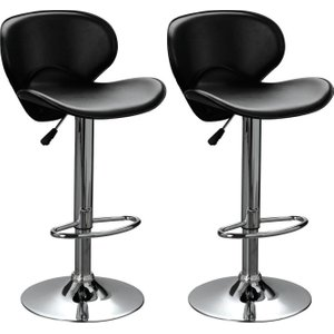 Premier Housewares Black Swivel Bar Chair (pair), Black and Chrome