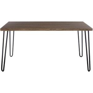 Premier Housewares Borough Hairpin Dining Table - Wood Veneer And Black Metal, Black
