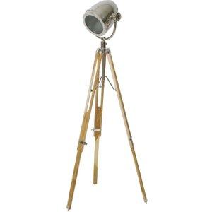 Light & Living Botha Tripod Floor Lamp - Steel And Brown Natural Wood, Brown