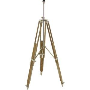 Light & Living Boudin Floor Lamp Tripod - Nickel And Brown Teak Wood, Brown