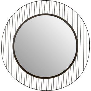 Luxe Interiors Brisbane Black Linear Lines Frame Wall Mirror, Black