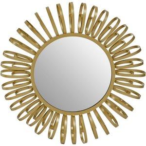 Luxe Interiors Brisbane Gold Multi Ring Design Round Wall Mirror, Gold