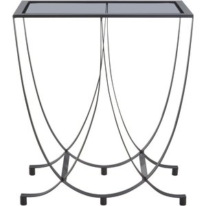 Luxe Interiors Brisbane Side Table With Grey Glass Top, Grey