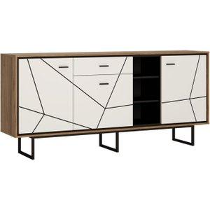 Furniture To Go Brolo Wide Sideboard - Dark Walnut And High Gloss White