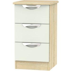 Welcome Furniture Camden 3 Drawer Bedside Cabinet - High Gloss Kaschmir And Bardolino, High Gloss Kaschmir and Bardolino