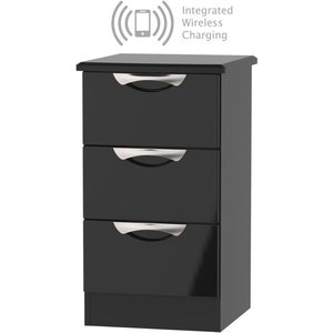 Welcome Furniture Camden High Gloss Black 3 Drawer Bedside Cabinet With Integrated Wireless Charging, High Gloss Black Front and Matt Black Carcase