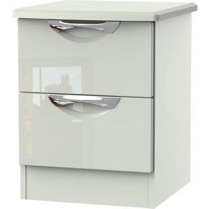 Welcome Furniture Camden High Gloss Kaschmir 2 Drawer Bedside Cabinet, High Gloss Kaschmir