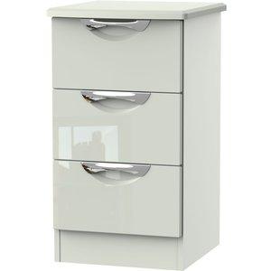 Welcome Furniture Camden High Gloss Kaschmir 3 Drawer Bedside Cabinet, High Gloss Kaschmir Front and Matt Kaschmir Carcase