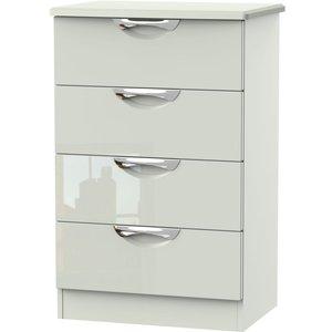 Welcome Furniture Camden High Gloss Kaschmir 4 Drawer Midi Chest, High Gloss Kaschmir Front and Matt Kaschmir Carcase