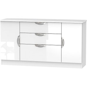 Welcome Furniture Camden High Gloss White 2 Door 3 Drawer Wide Sideboard