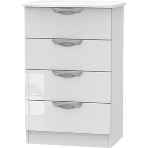 Welcome Furniture Camden High Gloss White 4 Drawer Midi Chest, High Gloss White Fornt and Matt White Carcase