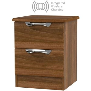 Welcome Furniture Camden Noche Walnut 2 Drawer Bedside Cabinet With Integrated Wireless Charging, Noche Walnut