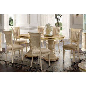 Camel Group Camel Aida Day Ivory Italian Oval Extending Dining Table With 6 Chairs And 2 Armchair, Ivory
