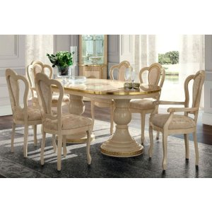 Camel Group Camel Aida Day Ivory Italian Oval Extending Dining Table With 4 Michelangelo Chairs And 2 , Ivory