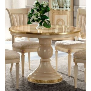 Camel Group Camel Aida Day Ivory Italian Round Extending Dining Table, Ivory