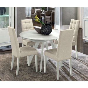 Camel Group Camel Dama White Italian Round Extending Dining Table And 4 Chairs, White