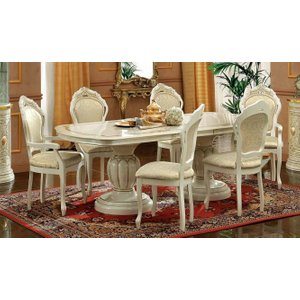 Camel Group Camel Leonardo Day Ivory High Gloss And Gold Italian Oval Extending Dining Table, Gold and Ivory High Gloss