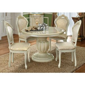 Camel Group Camel Leonardo Day Ivory High Gloss And Gold Italian Round Extending Dining Table