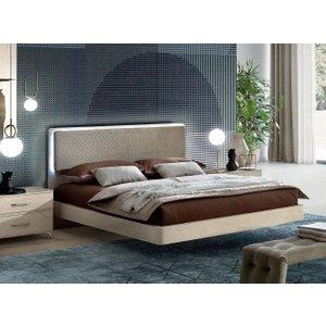 Camel Group Camel Maia Night Sand Birch Italian Bed With Smoke Headboard With Luna Storage
