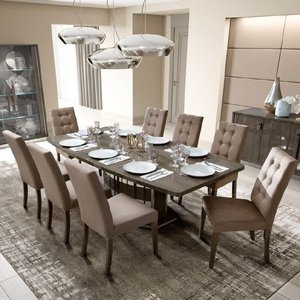 Camel Group Camel Platinum Day Silver Birch Italian Butterfly Extending Dining Table And 6 Dama Eco Na, Silver Birch