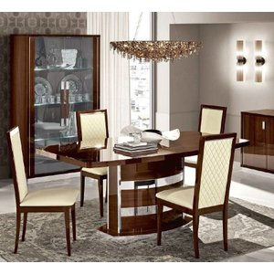 Camel Group Camel Roma Day Walnut Italian Butterfly Extending Dining Table And 6 Rombi Eco Leather Cha, Walnut