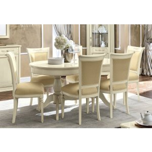 Camel Group Camel Torriani Day Ivory Italian Oval Extending Dining Table And 6 Chairs, Ivory