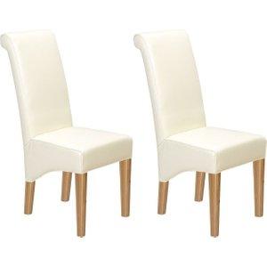 Hermitage Furniture Carlota Oak Bonded Beige Leather Dining Chair (pair), Natural Oak Matt Laquered
