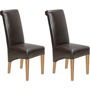 Hermitage Furniture Carlota Oak Bonded Brown Leather Dining Chair (pair), Natural Oak Matt Laquered