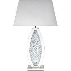Deco Home Castro Mirrored White Oval Shape Medium Table Lamp