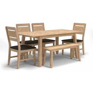 Hermitage Furniture Celina Oak Extending Dining Table With 4 Chairs And Bench