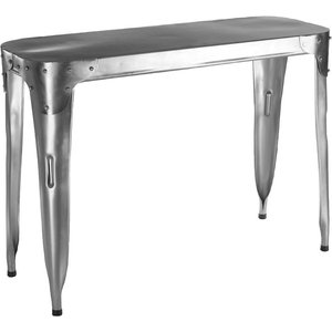 Luxe Interiors Chalfont Aviator Stainless Steel Console Table, Silver