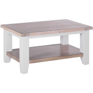 Besp Oak Chalked Oak And Light Grey Rectangular Coffee Table, Painted