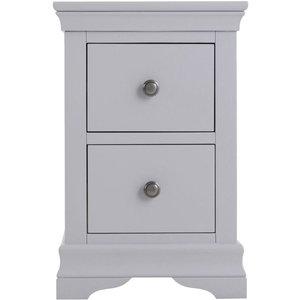 Scuttle Interiors Chantilly Moonlight Grey Painted 2 Drawer Bedside Cabinet, Moonlight Grey Painted