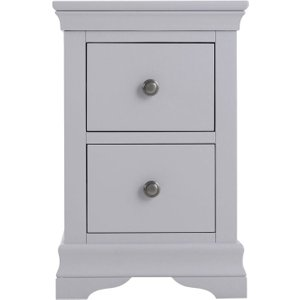 Scuttle Interiors Chantilly Moonlight Grey Painted 2 Drawer Narrow Bedside Cabinet