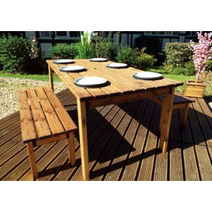 Charles Taylor 6 Seater Rectangular Garden Table Set With Bench, Natural