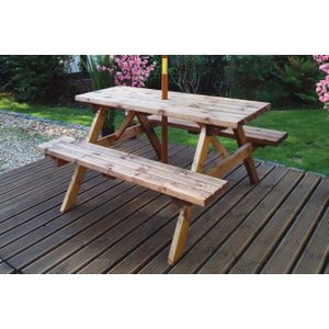 Charles Taylor Deluxe Rectangular Picnic Garden Table, Natural