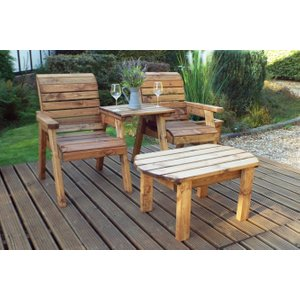Charles Taylor Twin Companion Oval Garden Dining Set With Straight Tray, Natural